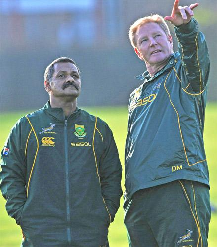 Peter de Villiers (left) and Dick Muir during a training session in London yesterday