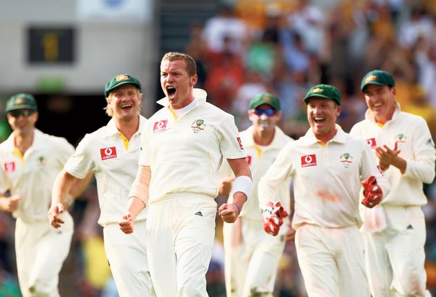 Peter Siddle celebrates the wicket of Matt Prior, one of his six victims on his 26th birthday