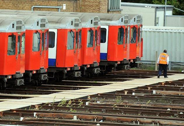 Tube trains standing idle at Upminster in Essex during the 2010 Tube strike
