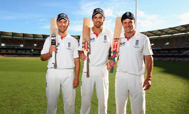 England Centurian batsmen Jonathan Trott, Alastair Cook and Andrew Strauss pose at the Gabba