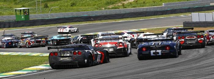 A view of the start of the race at Interlagos