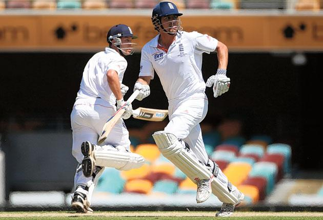 Alastair Cook and Jonathan Trott compile England's huge total of 517 for 1
