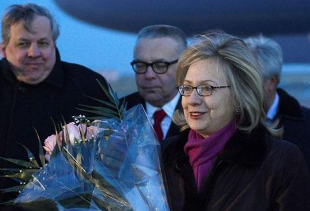 Hillary Clinton arrives in Astana, the capital of Kazakhstan, yesterday