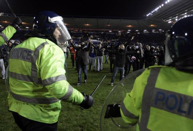 Violence flared at the final whistle