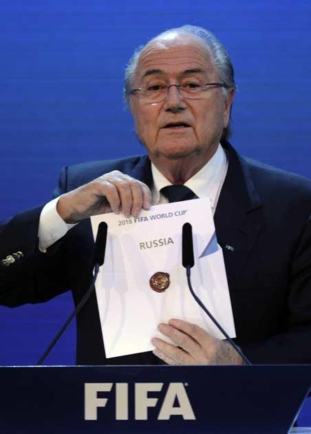 Sepp Blatter reveals Russia as the winners of the vote