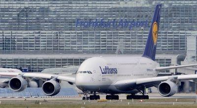 ALufthansa Airbus A380-800 is seen on the runway prior to take off from Frankfurt airport