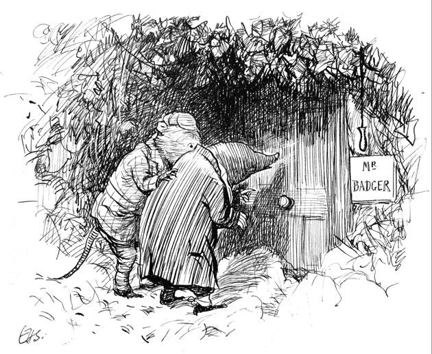 An EH Shepard illustration for 'Wind in the Willows'