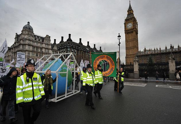 Protesters in London added their voice to the climate change debate with a march to Westminster yesterday