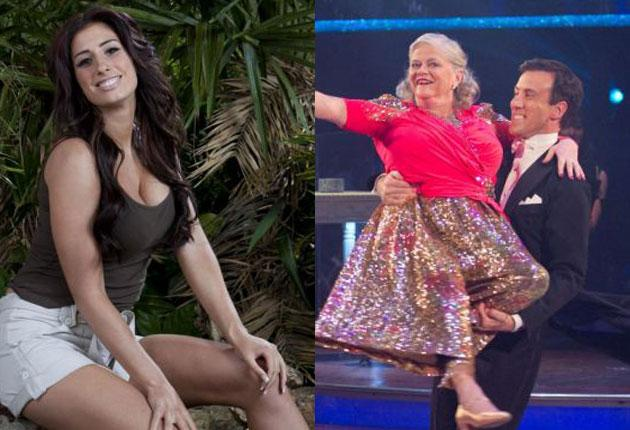 Jungle Queen Stacey Solomon and, right, Ann Widdecombe