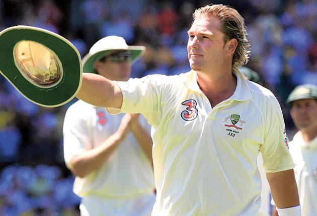 ShaneWarne raises his hat to the crowd after his final Test match, against England at the Sydney Cricket Ground four years ago