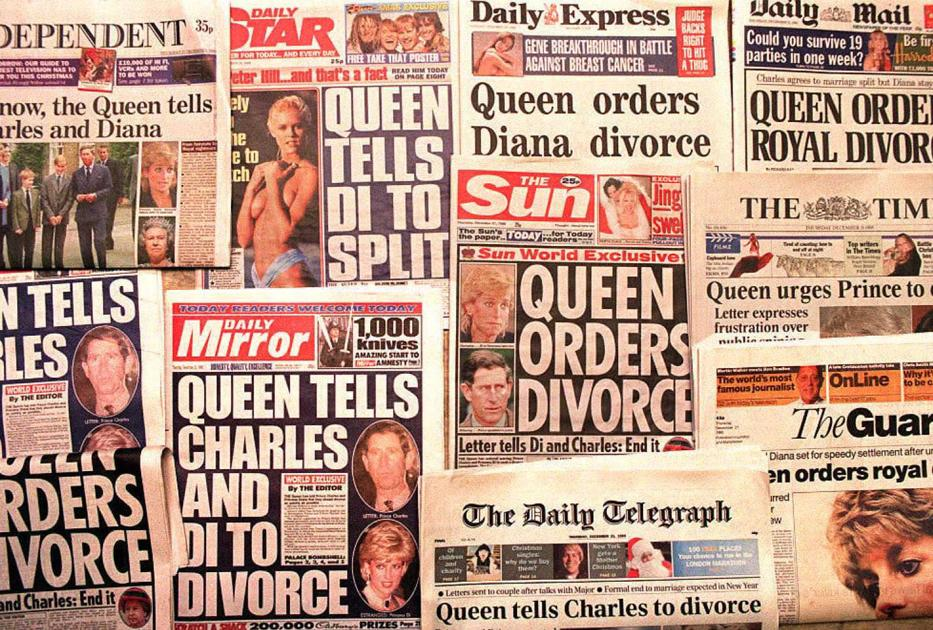 London's national newspapers headline 21 December 1995 the report that Queen Elizabeth has sent a letter to both Prince Charles and the Princess Diana spelling out her  'desire for an early divorce.'