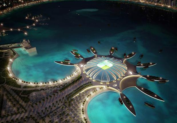 The World Cup will be held in Middle East for the first time ever. The Doha Port stadium is pictured in this artists impression
