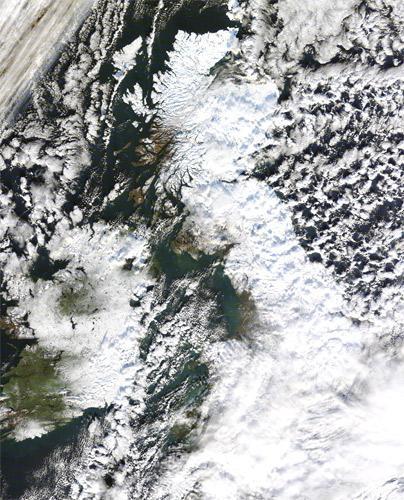 A satellite image of a snow covered Britain, taken earlier this month