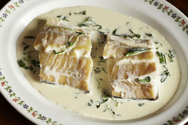 Smoked haddock with creamed watercress