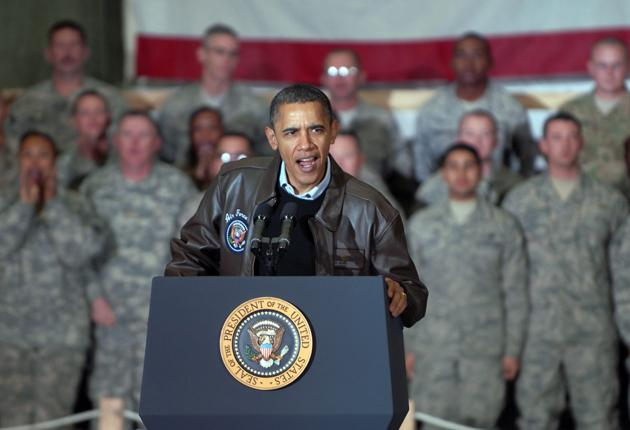 President Obama will give his progress report on the nine-year war today