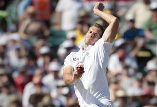 England's Chris Tremlett bowls during the third Ashes cricket test