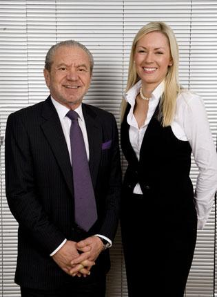 Stella English with Lord Sugar after becoming the Apprentice winner in 2010