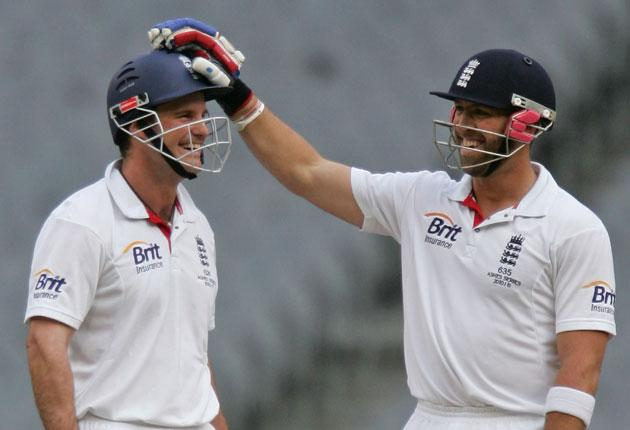 Prior celebrates with Andrew Strauss after taking his century