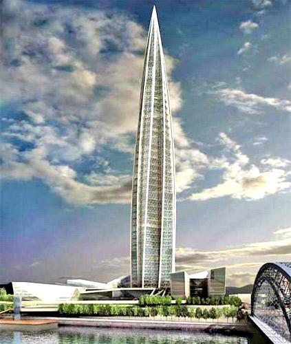 An artist's impression of Okhta Tower, which would have been 400m tall