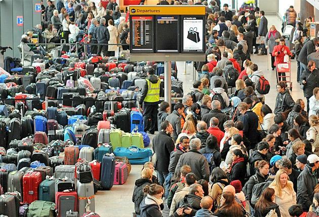 The scene at Heathrow Terminal 3 yesterday