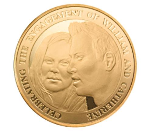 A Royal Mint coin commemorating the union of Prince William and Kate Middleton