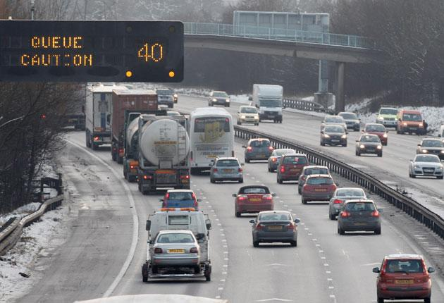 Traffic on the M6 motorway in Cheshire as people make their way home for the Christmas holidays