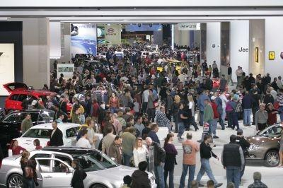 People and cars as far as the eye can see at NAIAS 2010 in Detroit