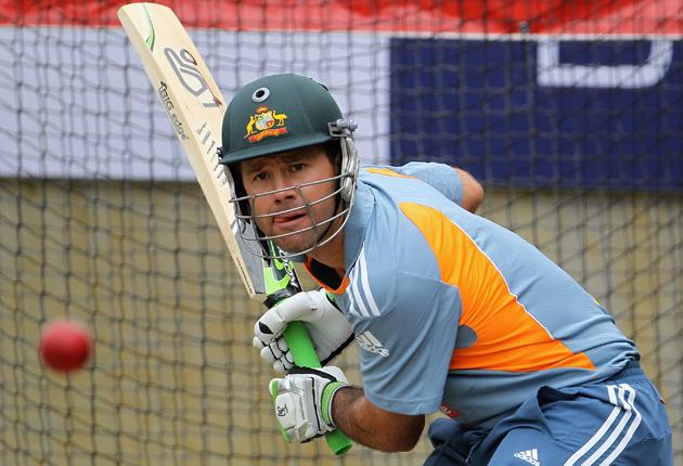 Ricky Ponting of Australia bats in the nets during an Australian training session