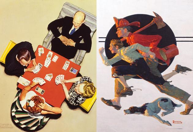Fresh perspective: 'Bridge Game' (left); 'The Volunteer Firefighter' (right)