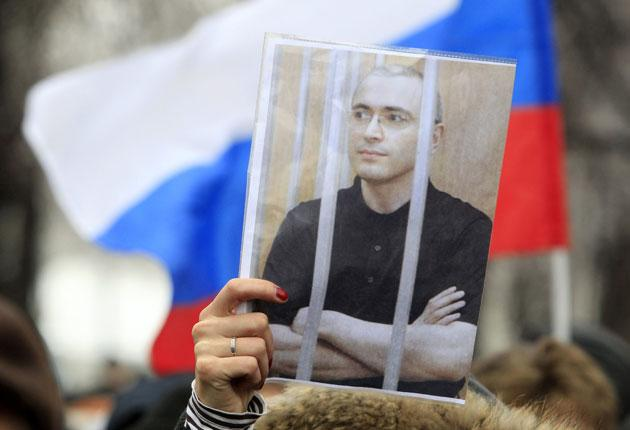 A demonstration in Moscow yesterday in support of the jailed oligarch Mikhail Khodorkovsky