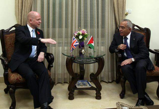 The Foreign Secretary William Hague, who met the Palestinian Prime Minister Salam Fayyad in the West Bank city of Ramallah last month