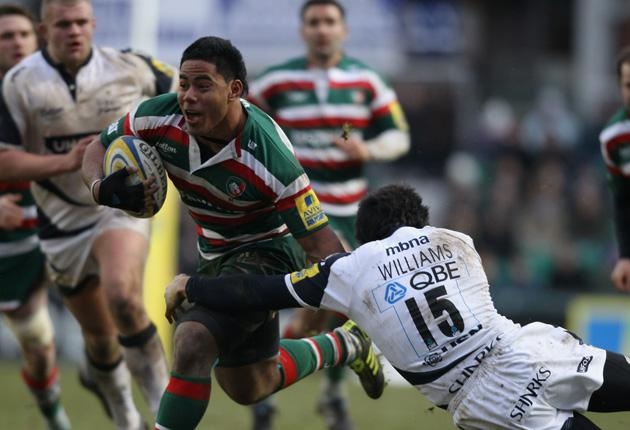 Manu Tuilagi scored two tries to help Leicester to a thumping win