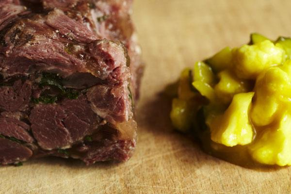 Serve jellied salt beef with a good pickle or piccalilli