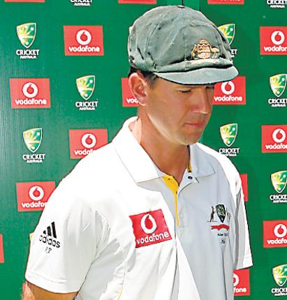 Ricky Ponting contemplates Australia's defeat during the post match presentations at the MCG
