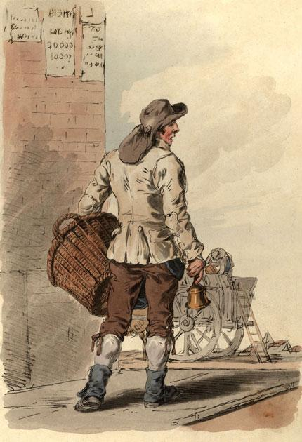 Bin man: collecting rubbish involved a bell and a basket in 1813