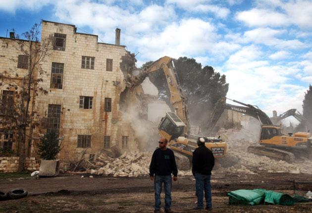 The Shepherd Hotel in East Jerusalem is demolished yesterday