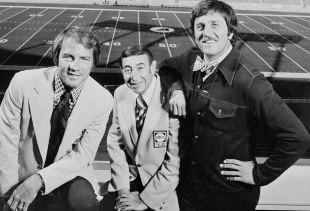 The 'Monday Night Footbal' team: from left, Gifford, Cosell, Meredith