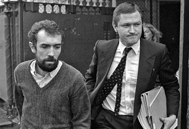 IRA member Pat McGeown walks free from Crumlin Road Courthouse with Pat Finucane, in 1988
