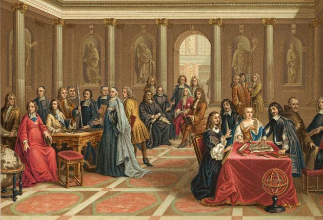 Queen Christina of Sweden watches a demonstration by 17th-century philosopher Descartes