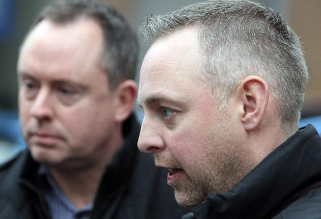 Martyn Hall (L) and his civil partner Steven Preddy (R) talk to the media in December of last year