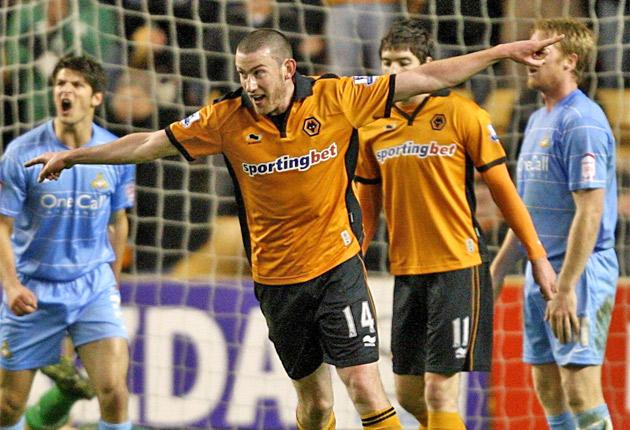 Wolves' David Jones celebrates after scoring the fifth goal in last night's thrashing of Doncaster Rovers