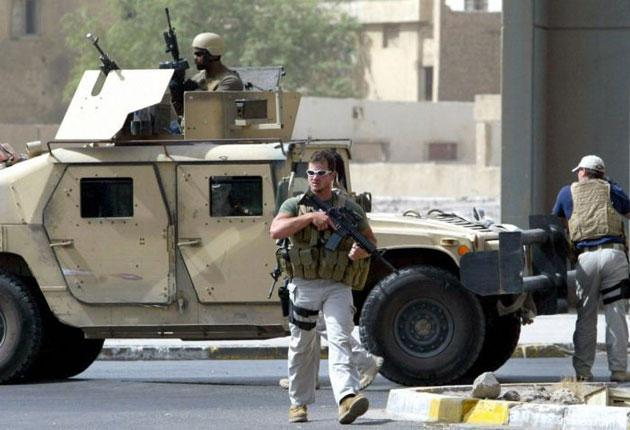 Blackwater employee on patrol in Baghdad