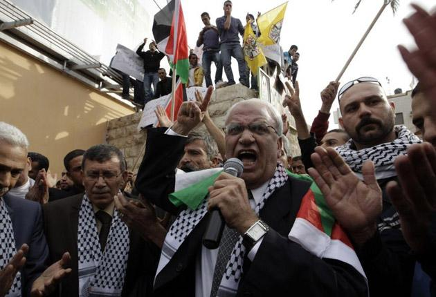 Saeb Erekat, the Palestinian Authority's chief negotiator, during a rally yesterday
