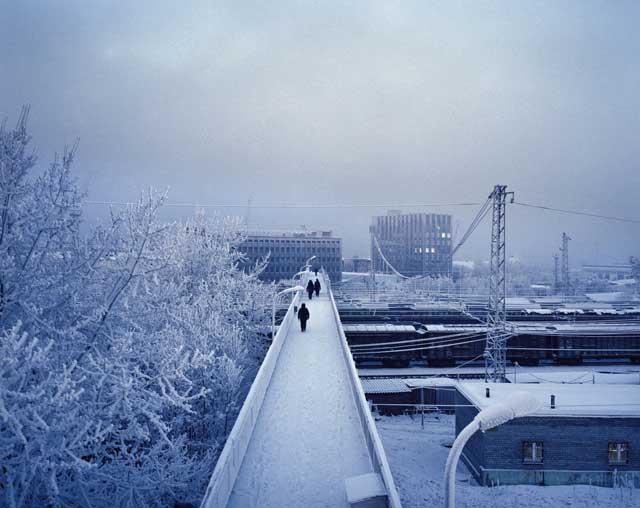 Polar nights: Roberts' image captures a dark and frosty mid-winter morning in Murmansk