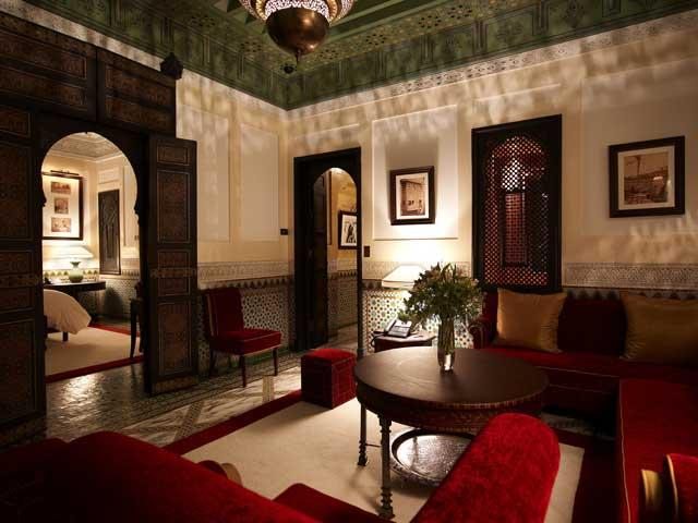 A living room at La Mamounia: 'Arabian Nights' meets 'Architectural Digest'