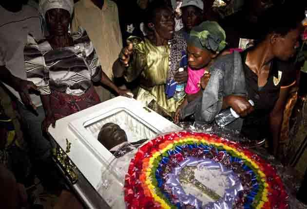 The funeral of a murdered Ugandan gay activist