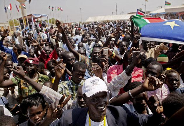 Southern Sudanese celebrate the preliminary referendum results in Juba yesterday