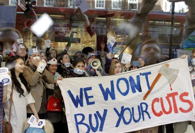 UKUncut members protest outside a Boots store in central London yesterday