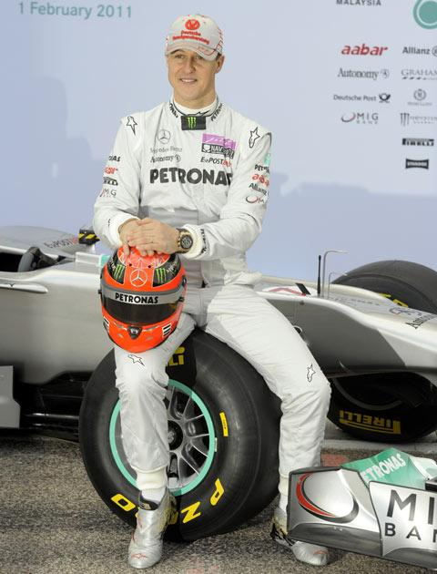 Schumacher pictured at testing this morning