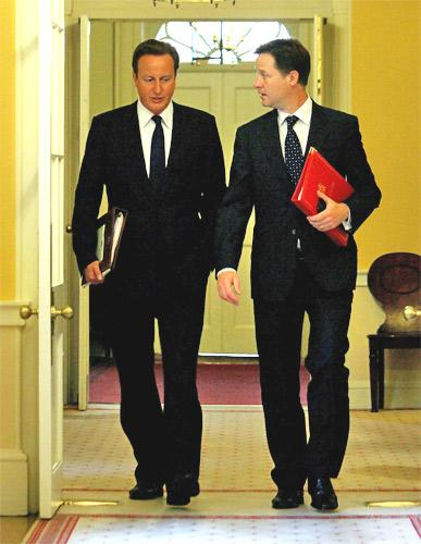 Some Tories fear that allies of David Cameron would be relaxed about a 'Yes' vote since it would give Nick Clegg, right, a prize and ensure a lasting Coalition